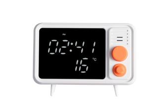 WJS Bluetooth Retro TV Alarm Clock Mirror Clock Bedside Multifunction Clock With Table Lamp Shows Temperature-Orange