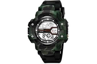 WJS Outdoor Sports Electronic Watch Waterproof Fashion Trend Sports Watch Multifunctional Luminous Watch Suitable for Men-Green