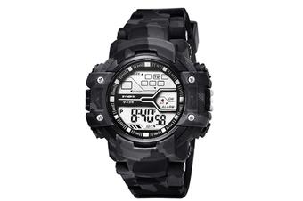WJS Outdoor Sports Electronic Watch Waterproof Fashion Trend Sports Watch Multifunctional Luminous Watch Suitable for Men-Grey