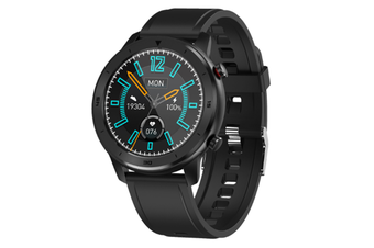WJS 1.3 Inch Color Screen Full-touch Bluetooth Watch Waterproof Multi-sport Mode Watch Can Measure Heart Rate and Blood Pressure-Black