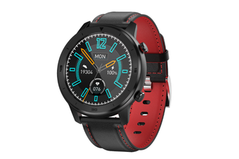 WJS 1.3 Inch Color Screen Full-touch Bluetooth Watch Waterproof Multi-sport Mode Watch Can Measure Heart Rate and Blood Pressure-Black Red