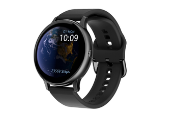 WJS 1.3 Inch Color Full Round Screen Smart Watch Full Touch Screen Waterproof Bluetooth Watch Monitor Heart Rate ECG Blood Pressure-Black