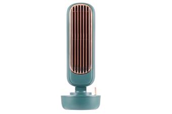 WJS Retro Humidification Tower Fan Small Fan Portable with Humidifier Desktop Air Circulation Fan Mini Small Fan-Green