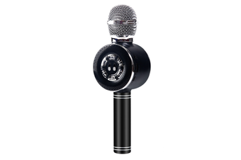 WJS Condenser Microphone Microphone Audio K Song Wireless Bluetooth Mobile Phone Live Microphone Audio Video Phone Microphone-Black