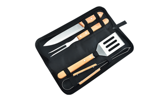 WJS Household BBQ Wooden Handle Barbecue Set Outdoor Stainless Steel Barbecue Combination Tool-4PCS