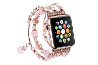 Watch Band, Faux Pearl Natural Stone Bracelet Replacement For Apple Watch Series 3 / 2 / 1 Pink 38Mm