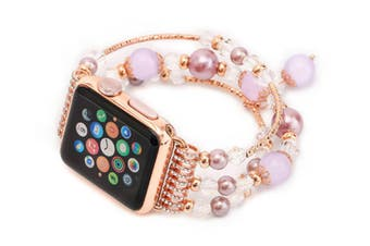 Watch Band, Faux Pearl Natural Stone Bracelet Replacement For Apple Watch Series 3 / 2 / 1 Purple 38Mm