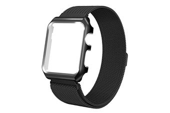 Watch Band Wrist Band With Metal Protective Case For Apple Watch Series 3 Series 2 Series 1 Black 38Mm