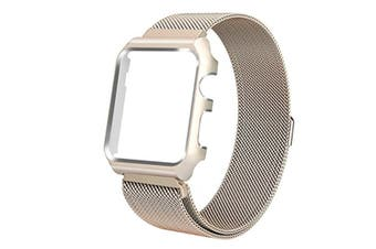 Watch Band Wrist Band With Metal Protective Case For Apple Watch Series 3 Series 2 Series 1 Gold 42Mm