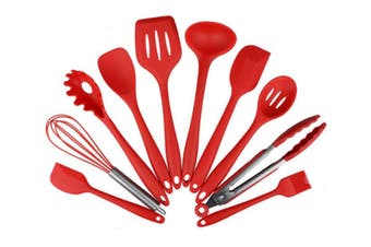 Non-Toxic Hygienic Safety Heat Resistant Silicone Kitchen Utensils Set Red
