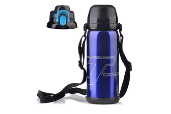 Sports Travel Water Bottle With Shoulder Strap, Bpa Free Stainless Steel Leak Proof Vacuum Blue