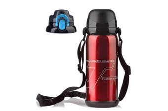 Sports Travel Water Bottle With Shoulder Strap, Bpa Free Stainless Steel Leak Proof Vacuum Red