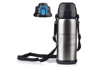 Sports Travel Water Bottle With Shoulder Strap, Bpa Free Stainless Steel Leak Proof Vacuum Silver