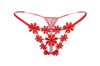 Women Sexy Floral Lace Cut-Out Transparent G String Thongs Red