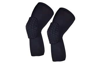 A Pair Breathable Professional Anti-Collision Honeycomb Protective Knee Leggings Black L