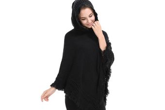 Ladies' Hooded Cape With Fringed Hem,Crochet Poncho Knitting Patterns For Women Black
