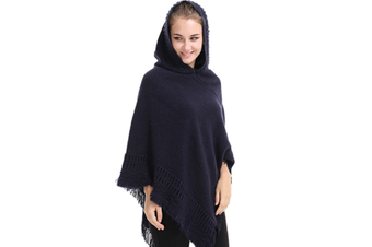 Ladies' Hooded Cape With Fringed Hem,Crochet Poncho Knitting Patterns For Women Navy