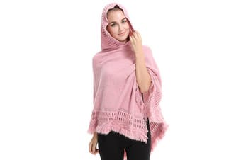 Ladies' Hooded Cape With Fringed Hem,Crochet Poncho Knitting Patterns For Women Pink