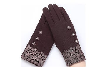 Women'S Fashion Warm Winter Thick Gloves With Button