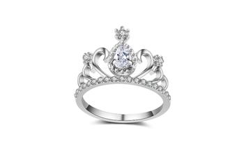 Plated Cubic Zirconia Princess Crown Tiara Cz Band Ring Silver White 7