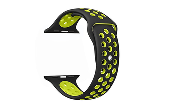 Soft Silicone Replacement Band For Apple Watch Series 3, Series 2, Series 1, Sport , Edition Black Yellow 38Mm