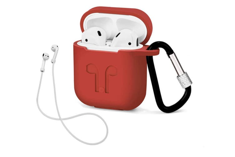 Airpods Earphone Protection Sleeve Silicone Protective Cover - Red Red