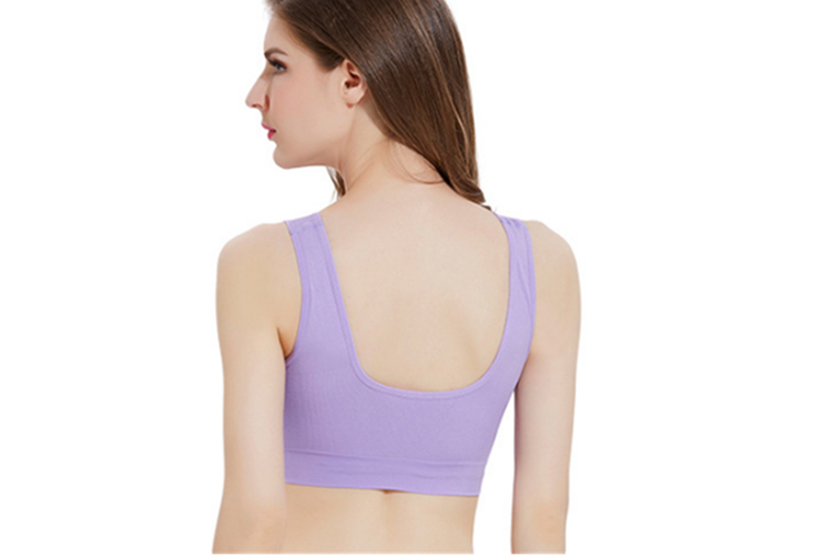 12 Colors Women Workout And Gym Seamless Yoga Sports Bra Light Purple L