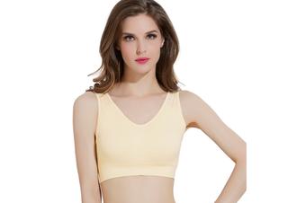 12 Colors Women Workout And Gym Seamless Yoga Sports Bra Yellow Xxxl
