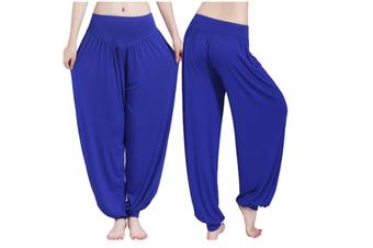 Womens Modal Cotton Soft Yoga Sports Dance Harem Pants Blue Xl