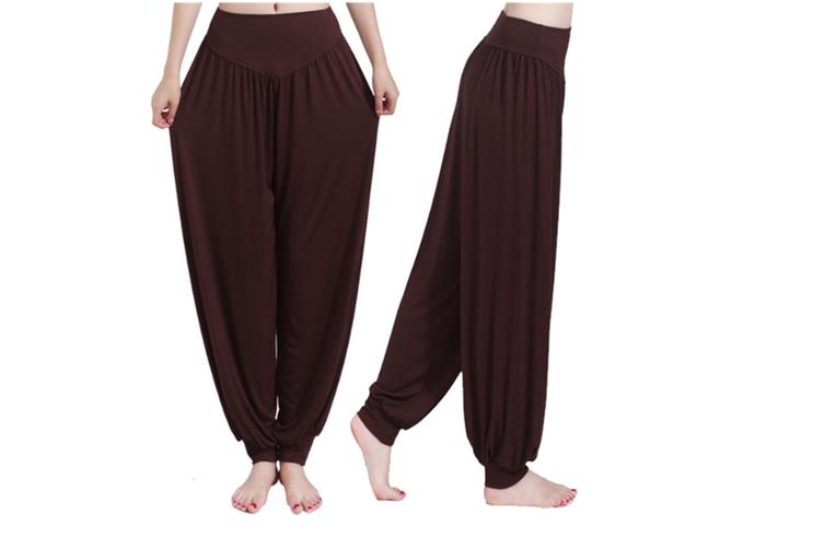 Womens Modal Cotton Soft Yoga Sports Dance Harem Pants Coffee L
