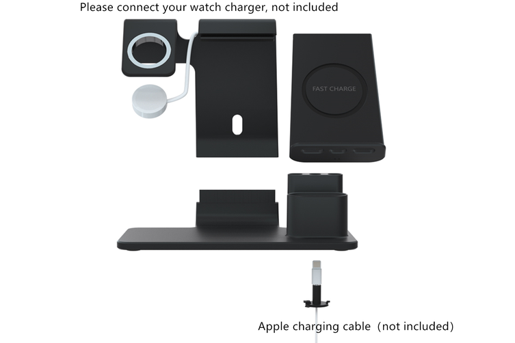 WJS 3 In 1 Wireless Charger Watch Charger For iPhone/Samsung/Huawei/Apple Watch-BLACK