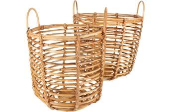 Ralu Rattan Baskets w/ Handles Set of 2