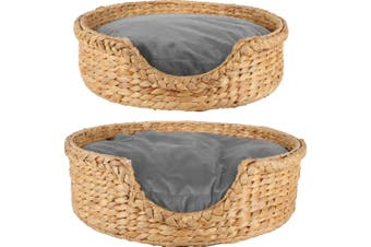 Jazz Pet Bed Round Water Hyacinth Set of 2