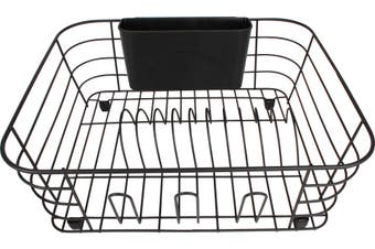 Dish Rack w/ Cutlery Holder & Rubber Feet Matte Black