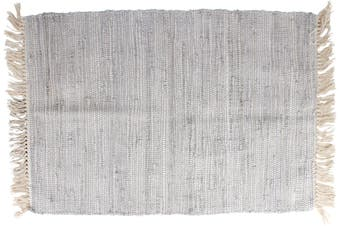 Santorini Grey Cotton Throw Rug