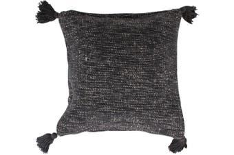 Corfu Cushion with 4 Tassels Black