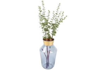 Bando Glass Vase with Gold Metal Band Smoke