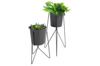 Sela Metal Plant Pot w/ Stand Black Set of 2