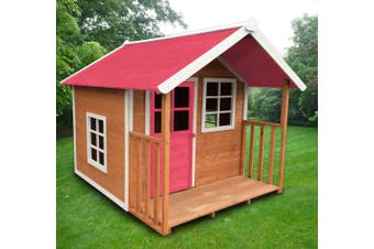 Pink Roof Cubby Wooden Outdoor Kids Playhouse