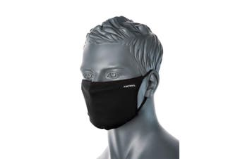 Portwest Triple Layer Anti-Microbial Fabric Face Mask 1pc - Black