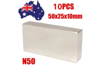 10x Super Strong Large Neodymium Magnet Block Rectangle 50mm x25mm x10mm N50 AU