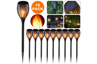 10X LED Solar Flickering Torch Path Light Dancing Flame Garden Landscape Lamp