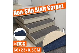 10 Pcs Anti-slip Stair Pad Mat Carpet Sticky Bottom Repeatedly-use Home 66X23CM