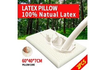 2PCS 100% Natural Bedding Latex Pillow Soft Comfort Sleeping Neck Pain 60X40CM(2PCS)
