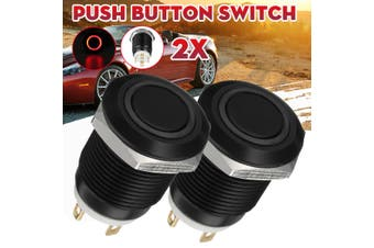 2Pcs 12V/24V 12mm LED Power Push Button Switch Momentary Waterproof Red #