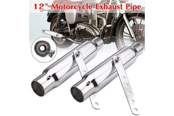 2pcs Silver 12inch Shorty Motorcycle Exhaust Pipe For Harley Custom WE38020