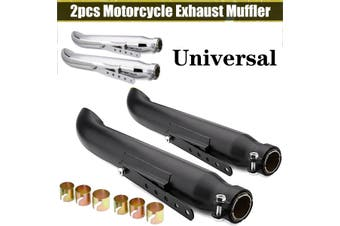 2PCS 36-45mm Universal Muffler Motorbike Exhaust Motorcycle Exhaust Pipe Motorcycle Vintage Modified Exhaust Pipe Exhaust Pipe (silver,D)