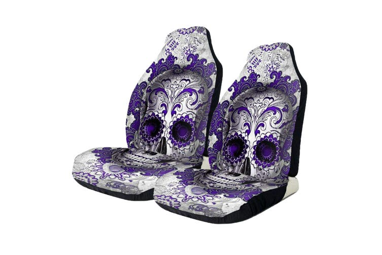 Pair Universal Front Car Seat Covers Cushion Protector Purple Skull