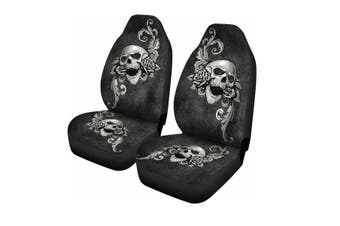 Universal Front Car Seat Covers Auto Seat Cushions Protector Skull Printed Black(2pcs Flower Skull seat cover)