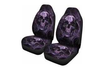 2PCS Skull Printed Front Car Seat Covers Protectors Universal Washable Cushion (2pcs Smoke Skull seat cover)